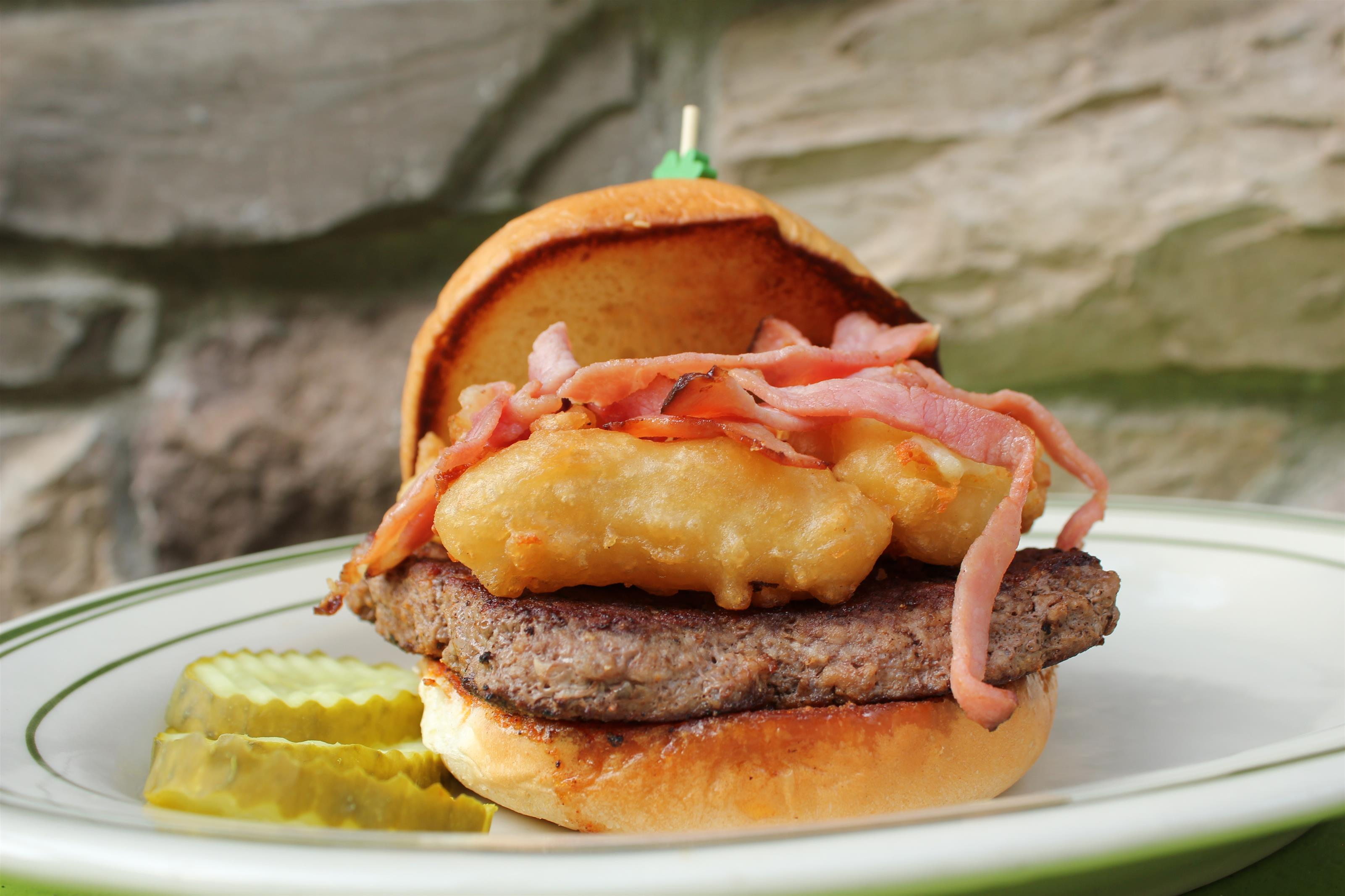 burger with cheese curds and ham