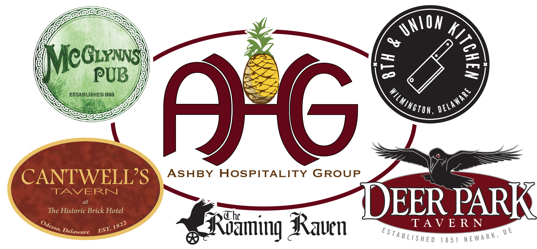 Collage of Ashby Hospitality Logos - Mcglynn's pub, Cantwell's Tavern, The Roaming Raven, Deer Park Tavern, 8th and Union Kitchen Wilmington, Delaware.