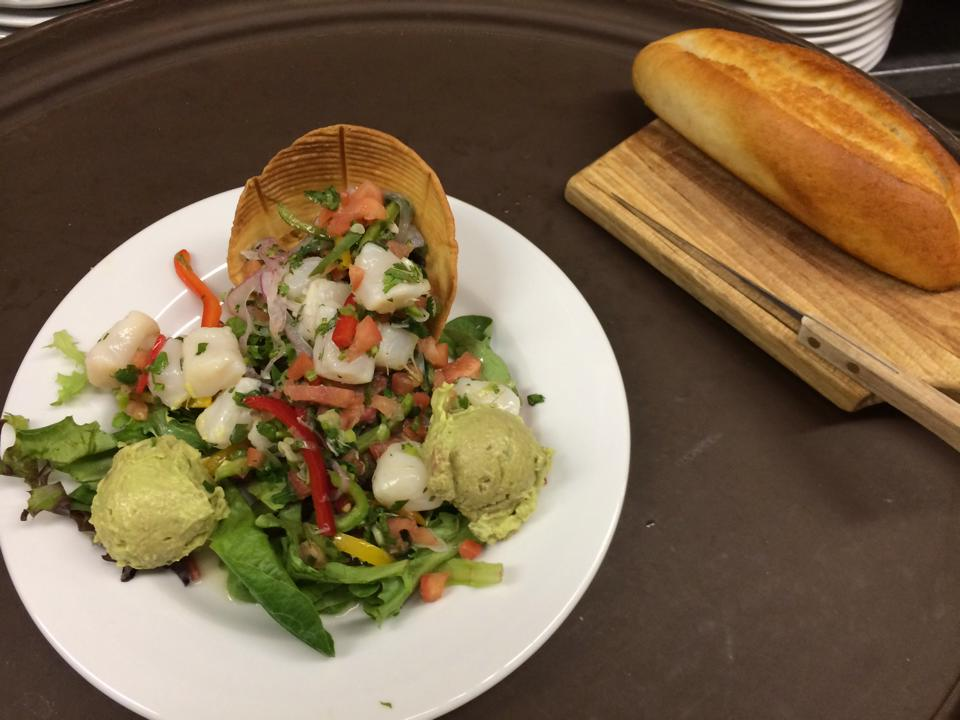 mexican salad with bread on the side