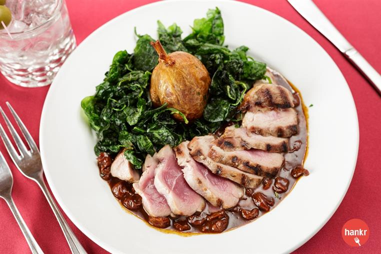 sliced pork with spinach