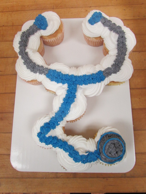 Frosted cup cakes lined up to resemble a blue and grey stethoscope