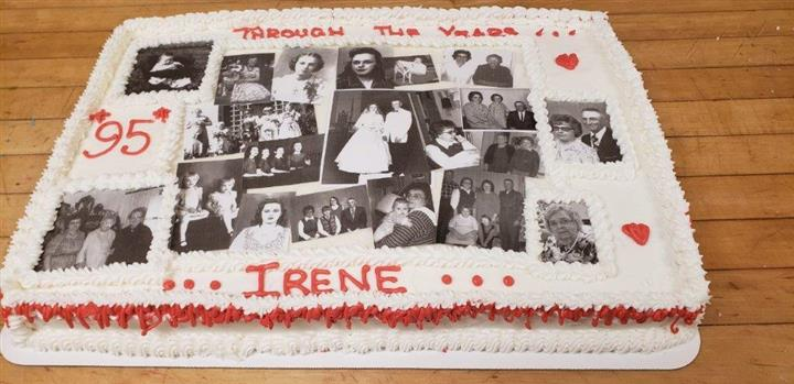 "A cake that says ""through the years irene"""