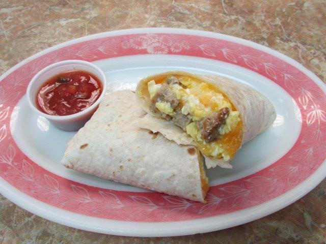 breakfats burrito with egg cheese and sausage and a side of salsa