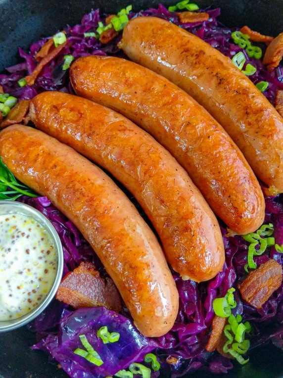Brats with Red Cabbage