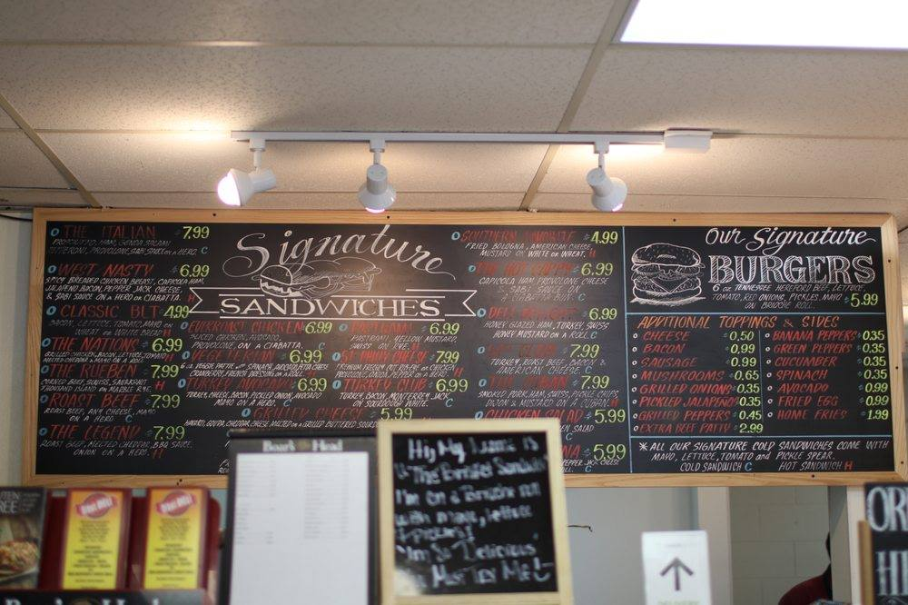 Chalkboard menu for sandwiches and burgers