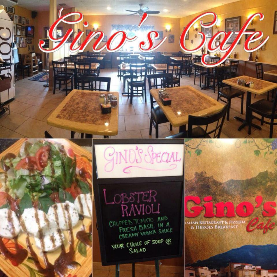 inside view of gino's, an entree, a menu on a chalkboard and a full menu