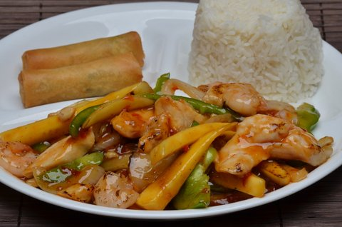 mango delight chicken & shrimp with rice and egg rolls