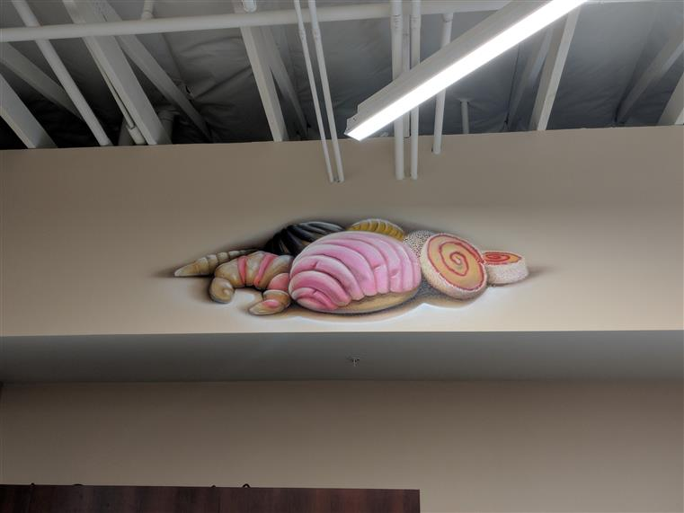 Decorative image of shell fish on wall