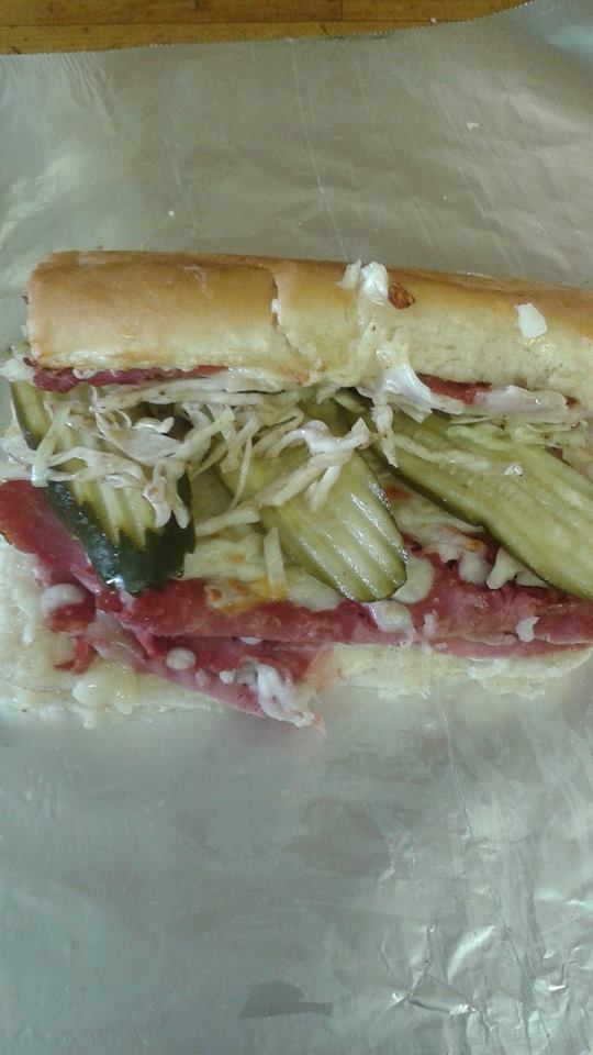 italian sub with lettuce and pickles