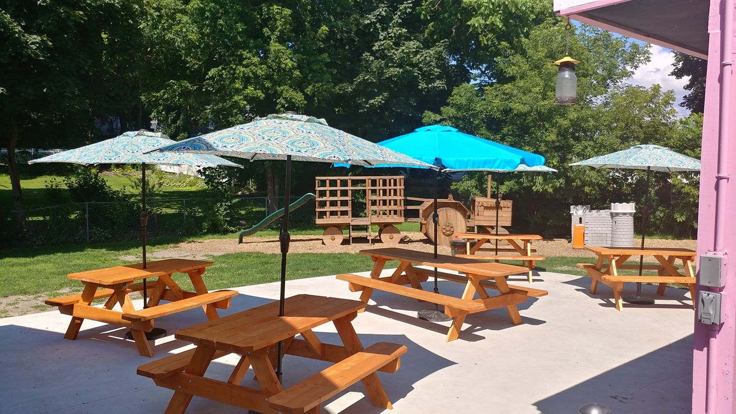 picnic tables with umbrellas