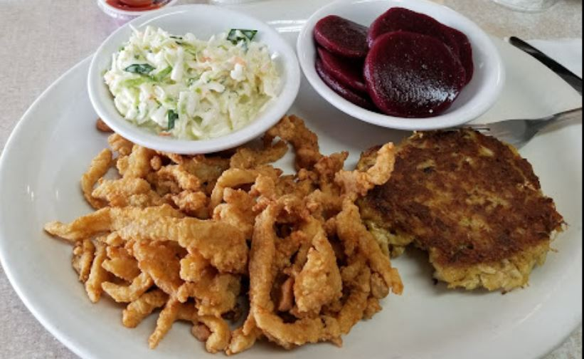 Clam strips with crab cake, side of beets, cole slaw