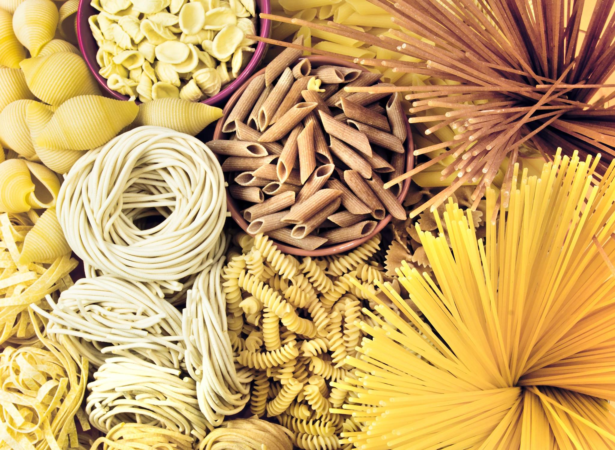 Assortment of uncooked pastas