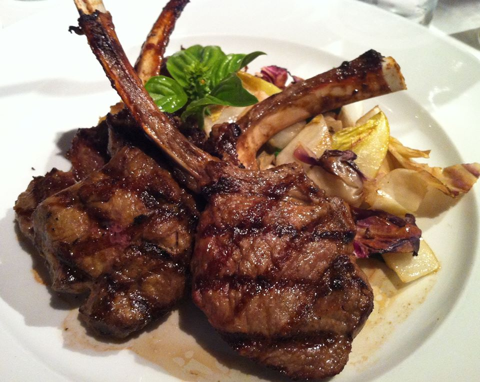Two grilled lamb chops on dish