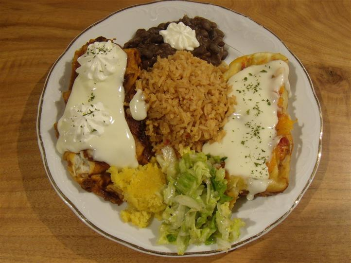 plate of eggs, rice and beans
