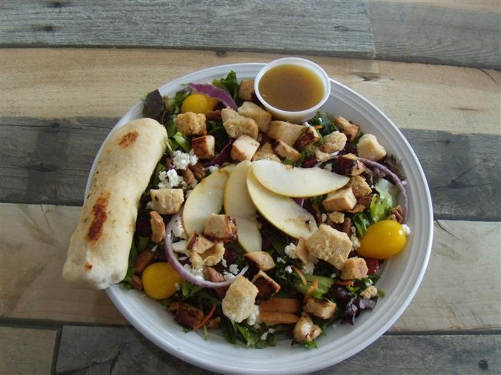 salad with fruit, croutons and vegetables