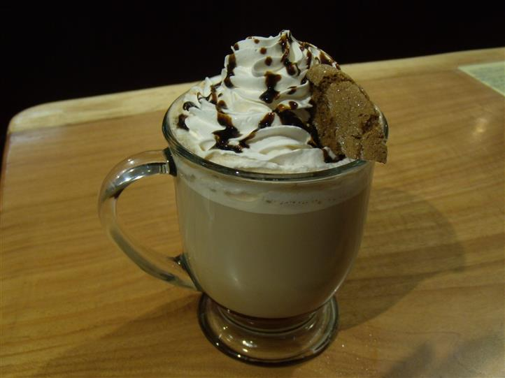 mocha coffee in a mug with whipped cream