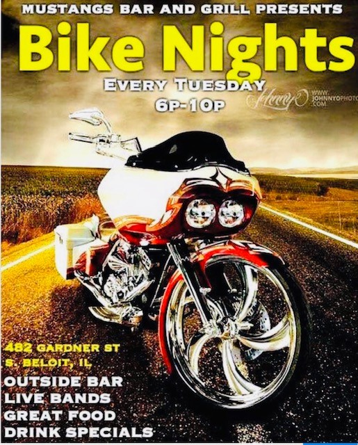 mustangs bar and grill presents bike nights every tuesday 6p-10p 482 gardner st s. beloit, il outside bar live bands great food drink specials