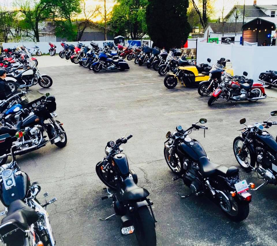 Parking lot filled with motorcyles