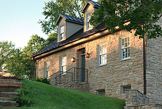 exterior view of a stone building