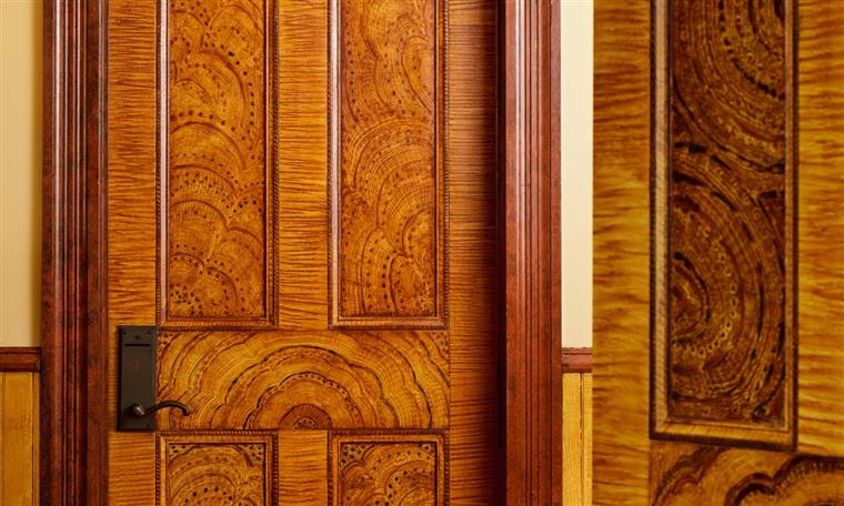 Wood details of a door