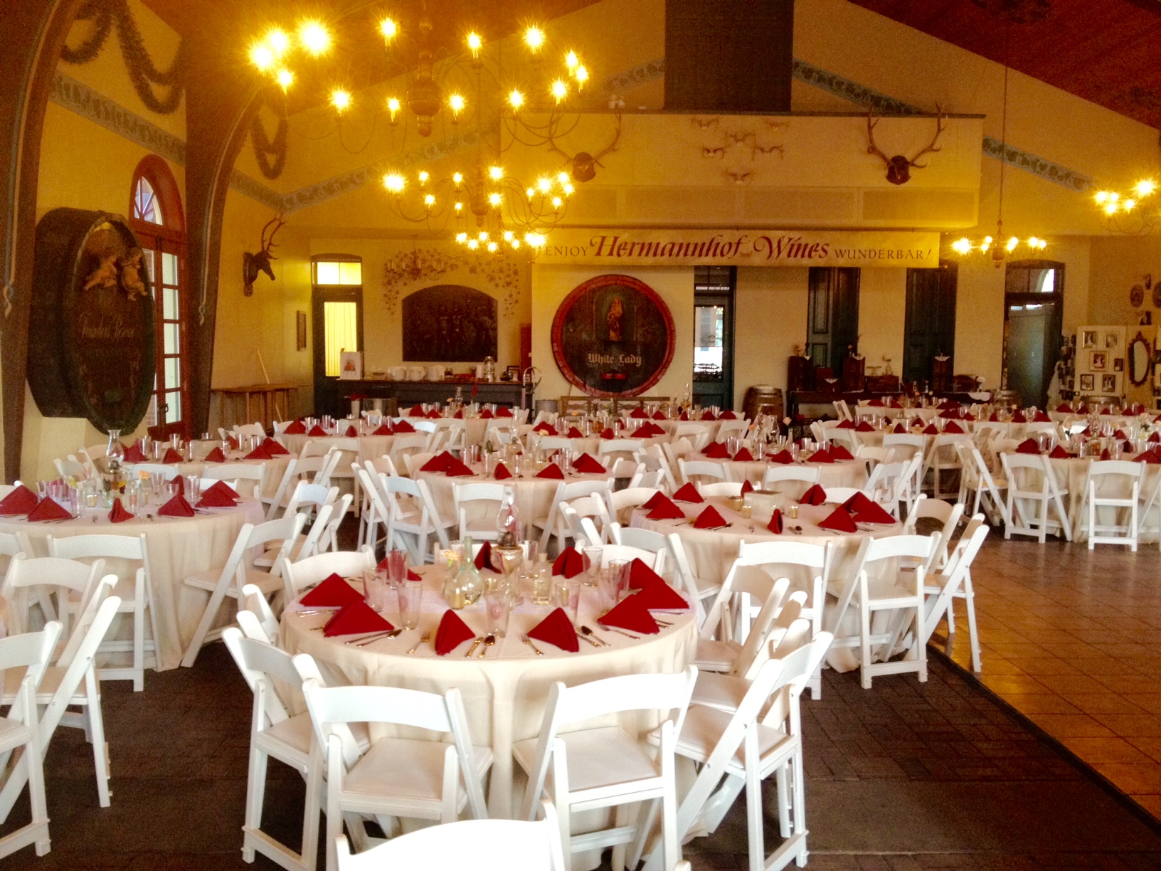 decorate tables and chairs at a wedding venue