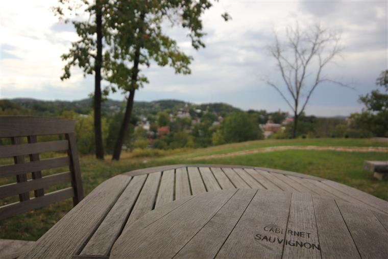 "A view from the porch.  The foreground is in focus showing the surface of the wooden table and a circular lazy susan that has ""cabernet sauvignon"" branded into the wood surface.  A path separates the foreground from the background, and the hills, trees, and buildings of Hermann are in the background."
