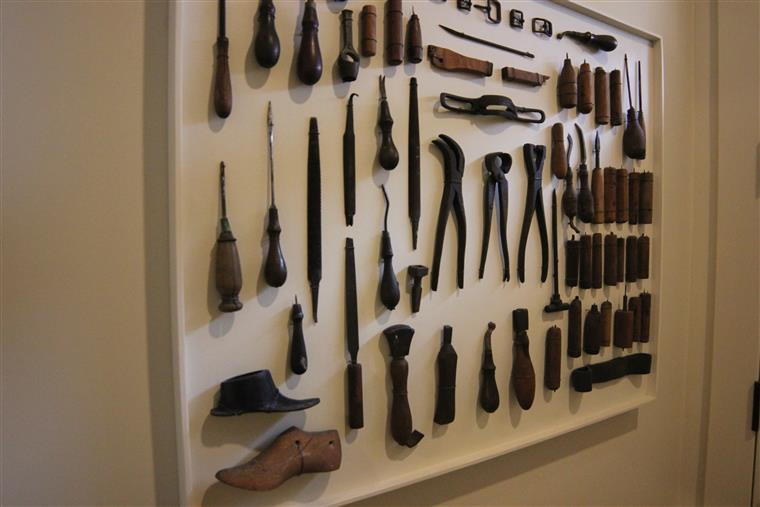 A display of tools used in the 1800s to shape and form stone.