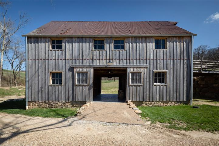 view of barn with open double doors