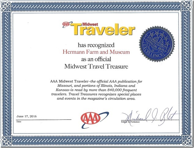 aaa midwest traveler has recognized hermann farm and museum an official midwest travel treasure
