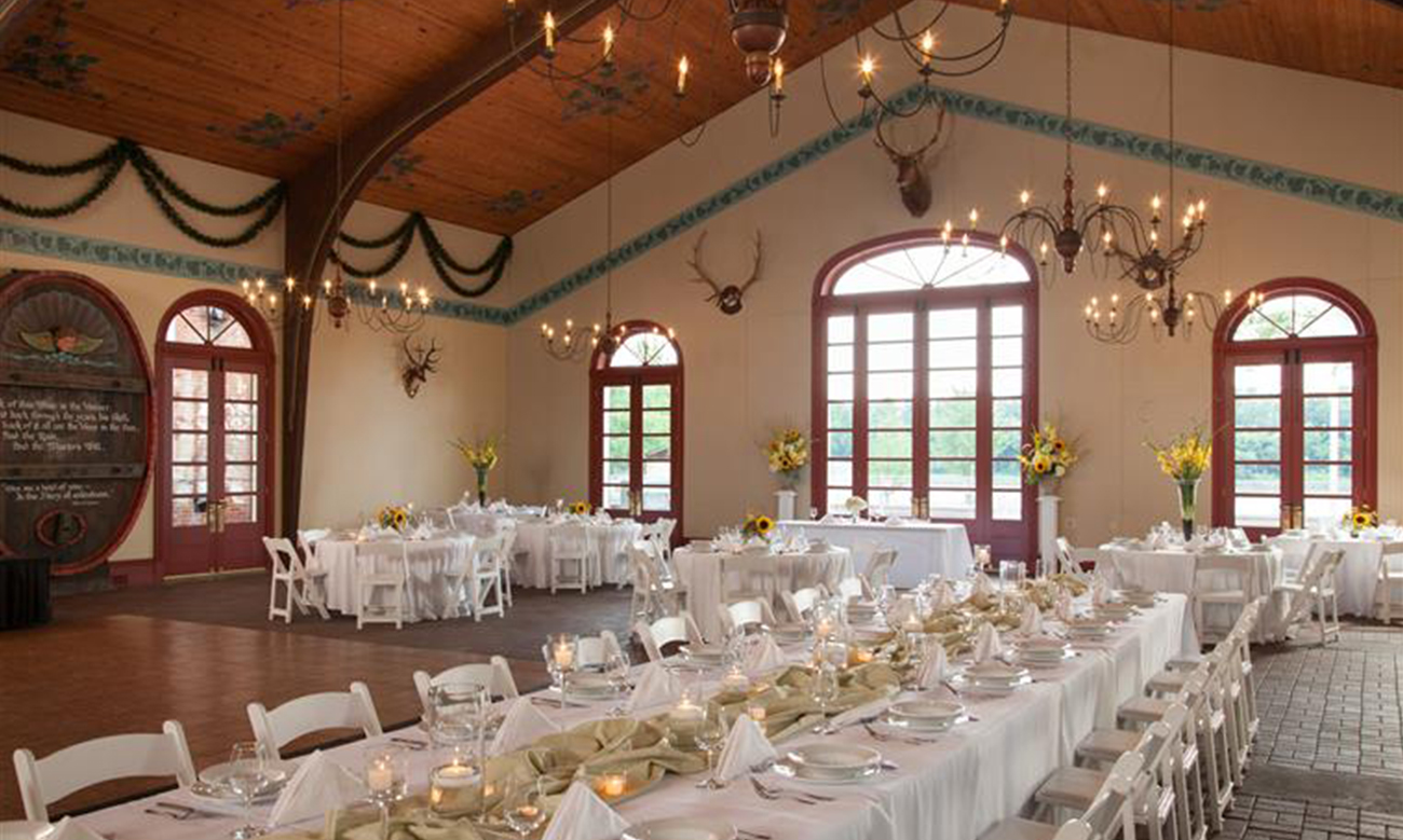large banquet room with tables and chairs