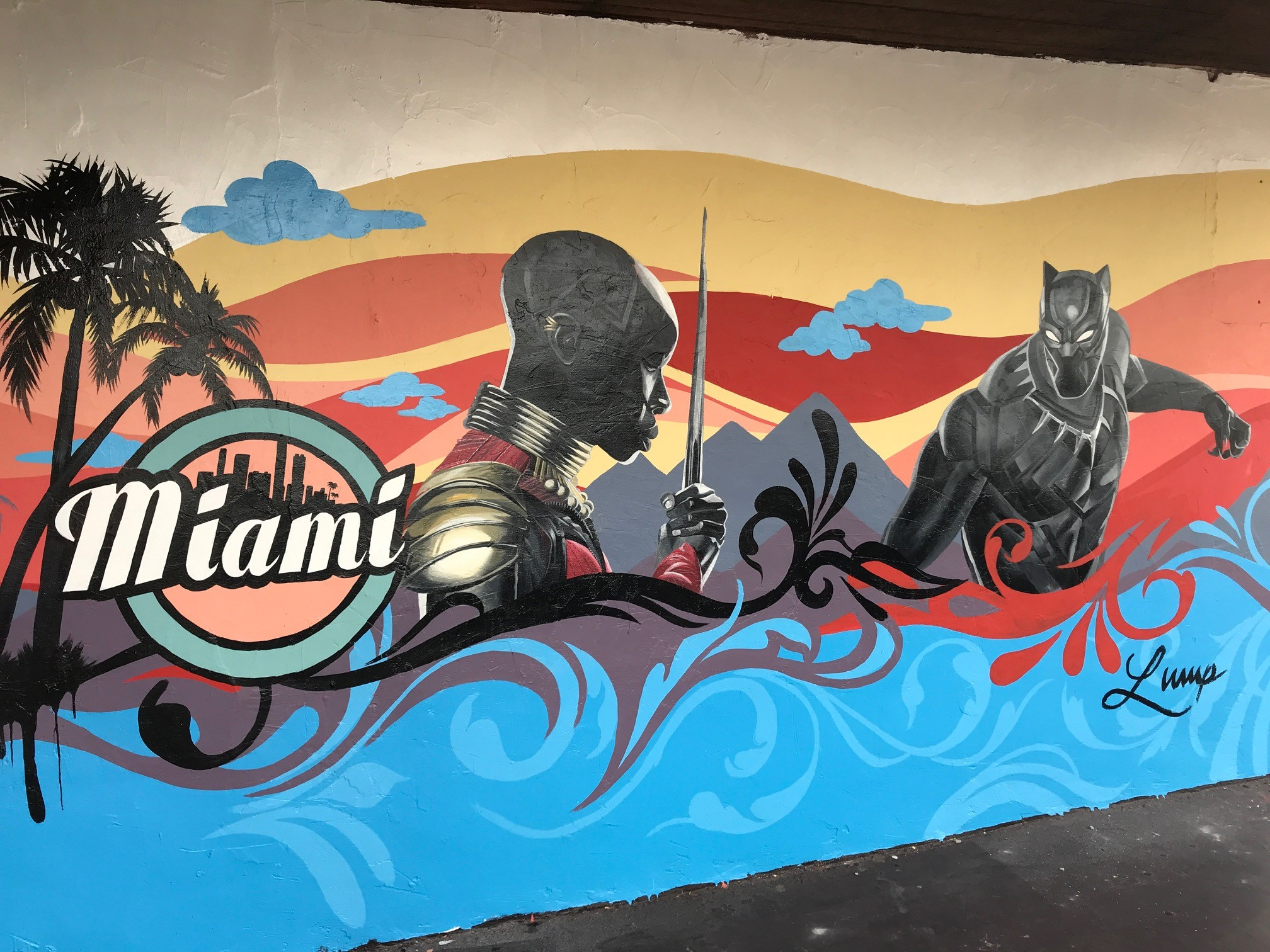 Black panther movie painting on exterior wall
