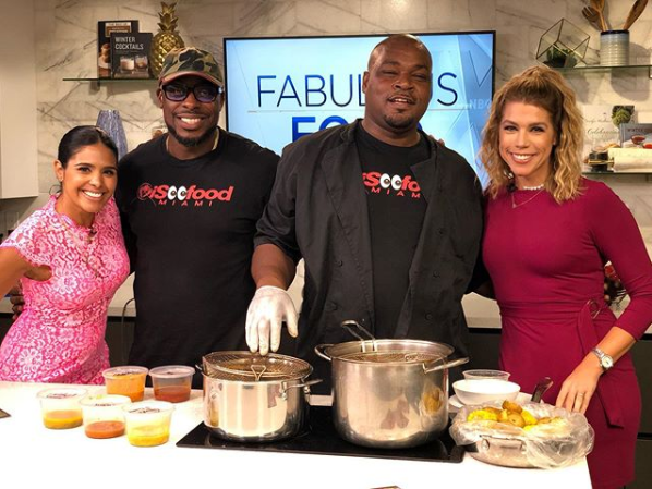Owner Keith & Chef Shawn cooking on Fabulous Foods TV show.