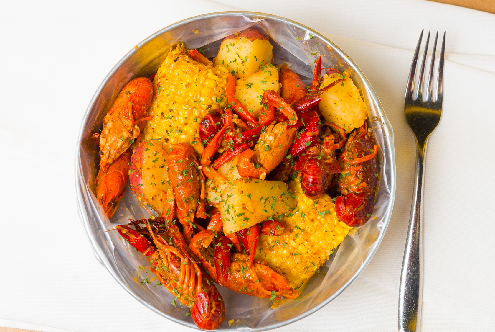 Crawfish Boil with Corn and Potatos