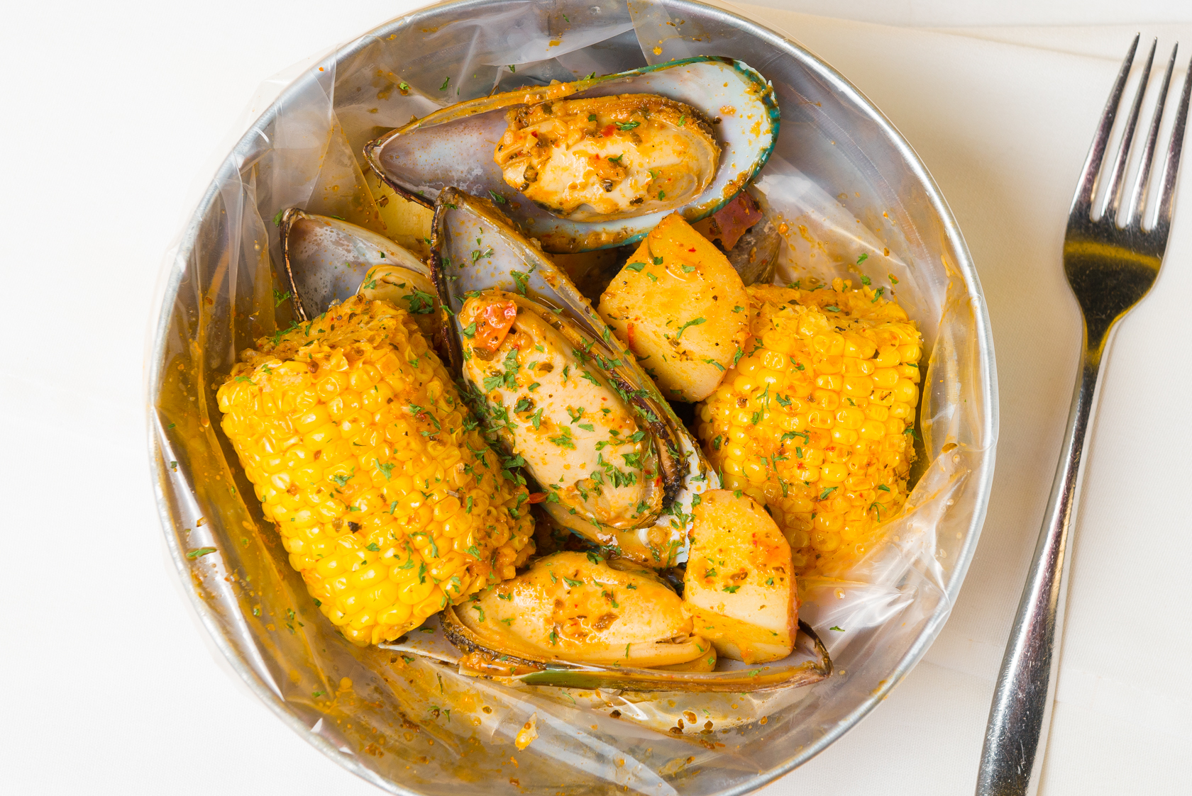 Mussel Boil with Corn and Potatos