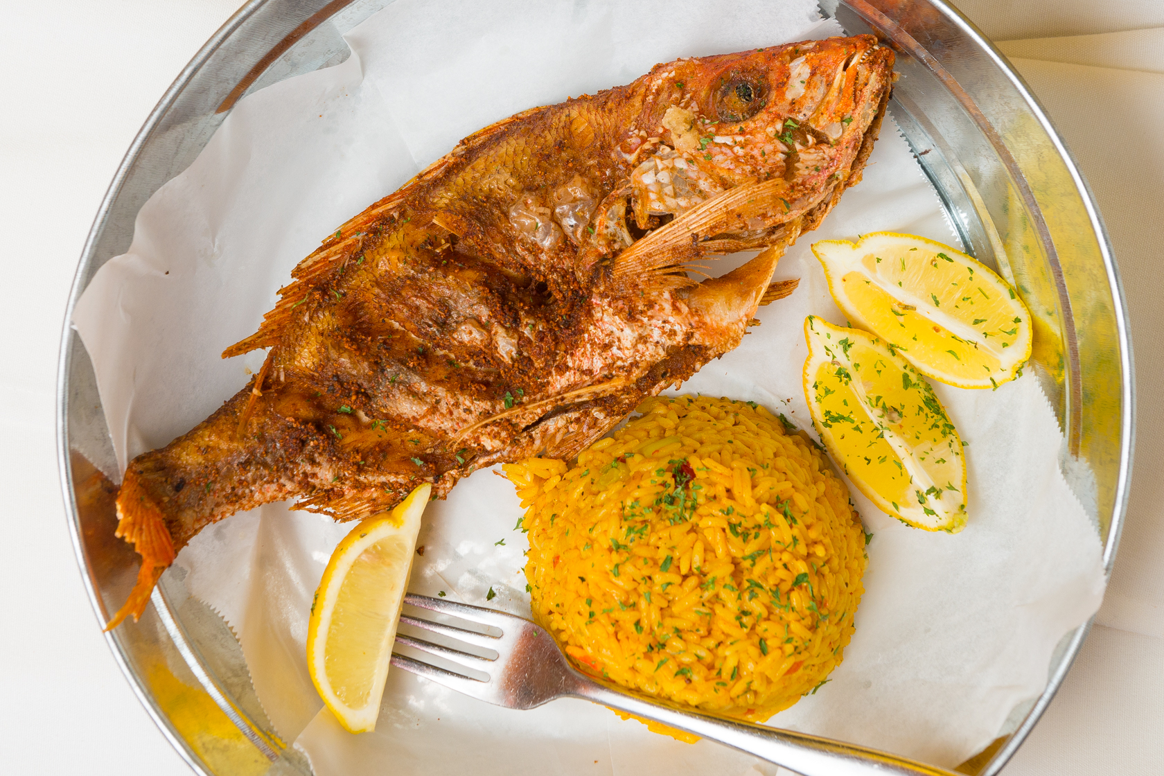 Whole Fried Snapper with Lemons