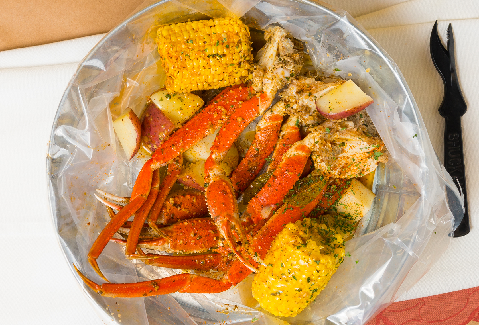 Snow Crab Leg Boil with Corn