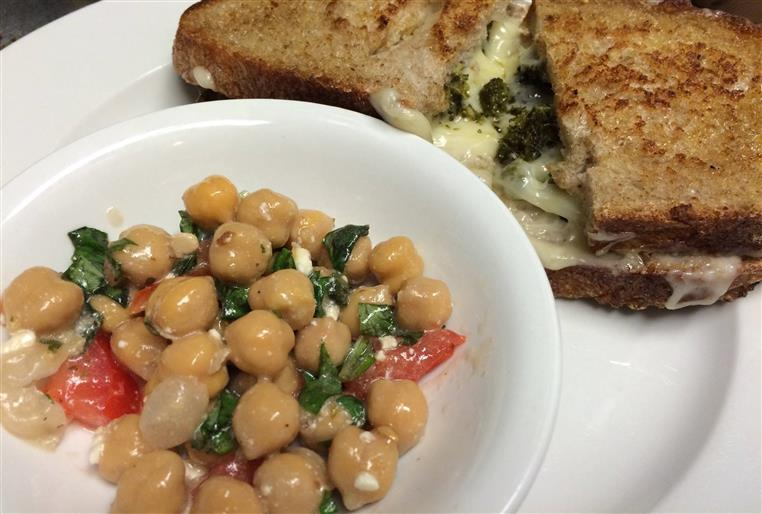 Grilled cheese sandwich. Roth Kase bleu cheese, gouda & cru. with dish of garbanzo beans.