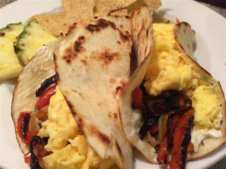 Scrambled eggs, fire roasted red peppers in crispy shell