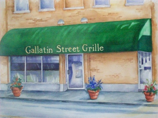 Gallatin Street Grille sign on awning over entrance illustration