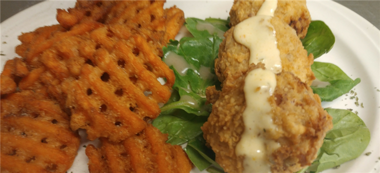 crab cakes and waffle fries