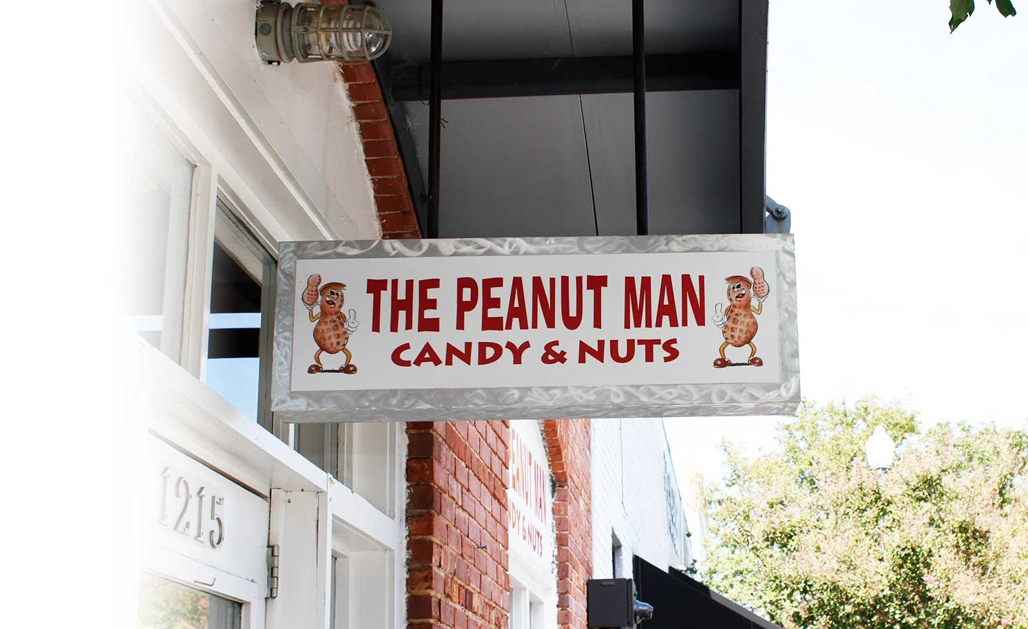 The Peanut Man candy & nuts sign over entrance