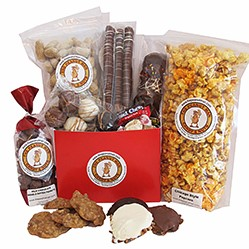 Various candies, nuts, popcorn gift packages