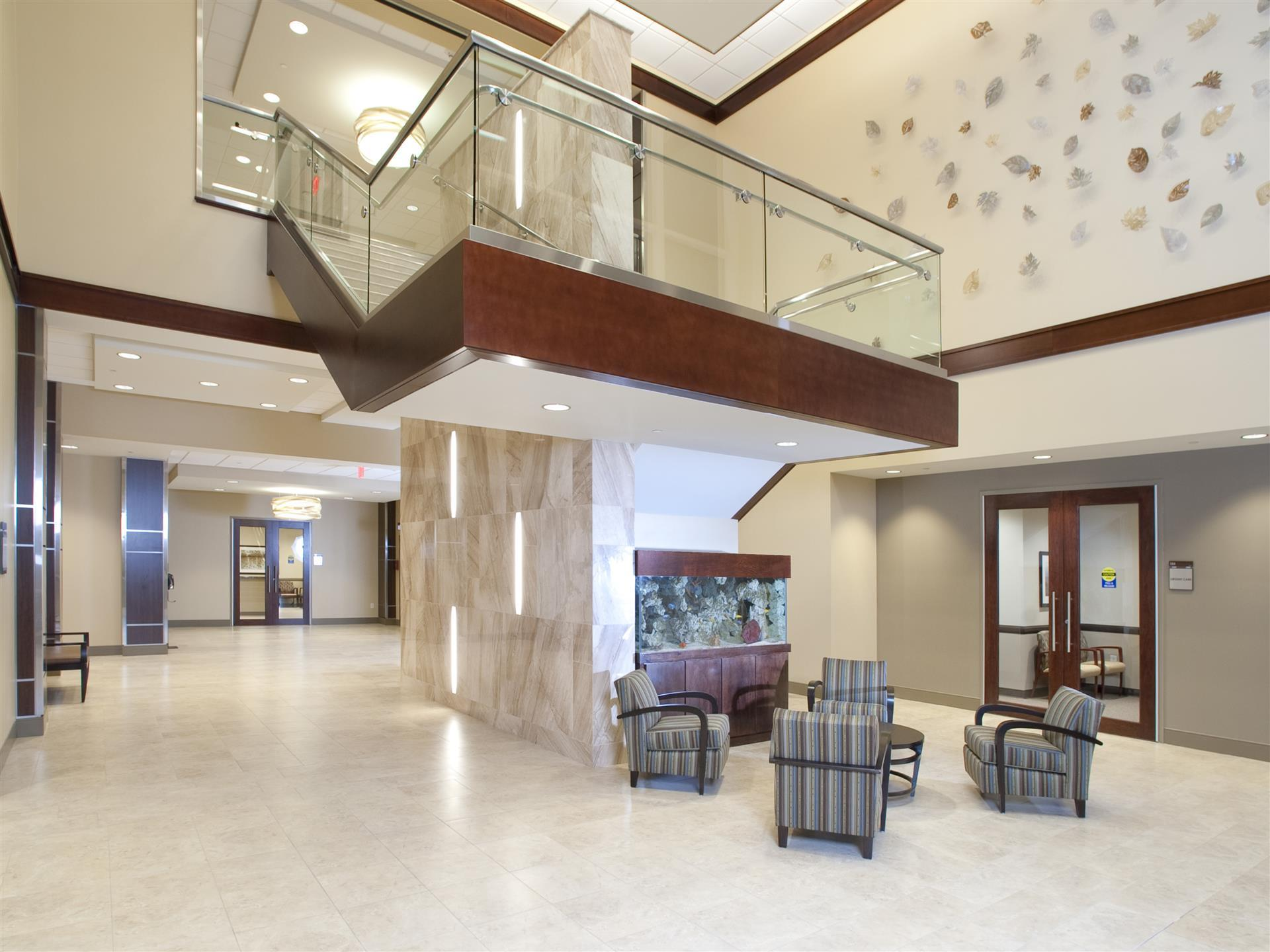 Two story lobby with chairs