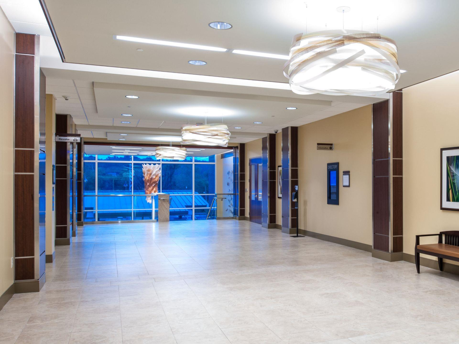 Large lobby open entrance with elevator