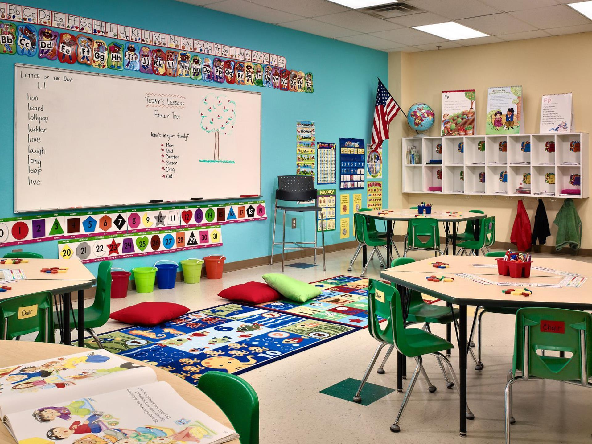 Classroom for children set up with white board and educational decorations.