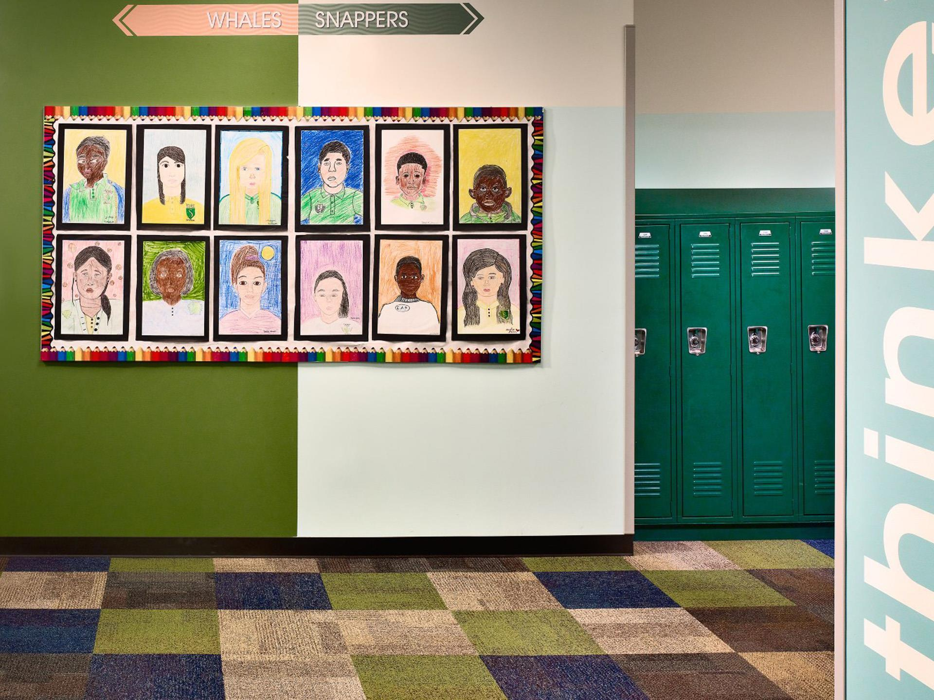 Cork board in school hallway with some lockers and checkered floor.