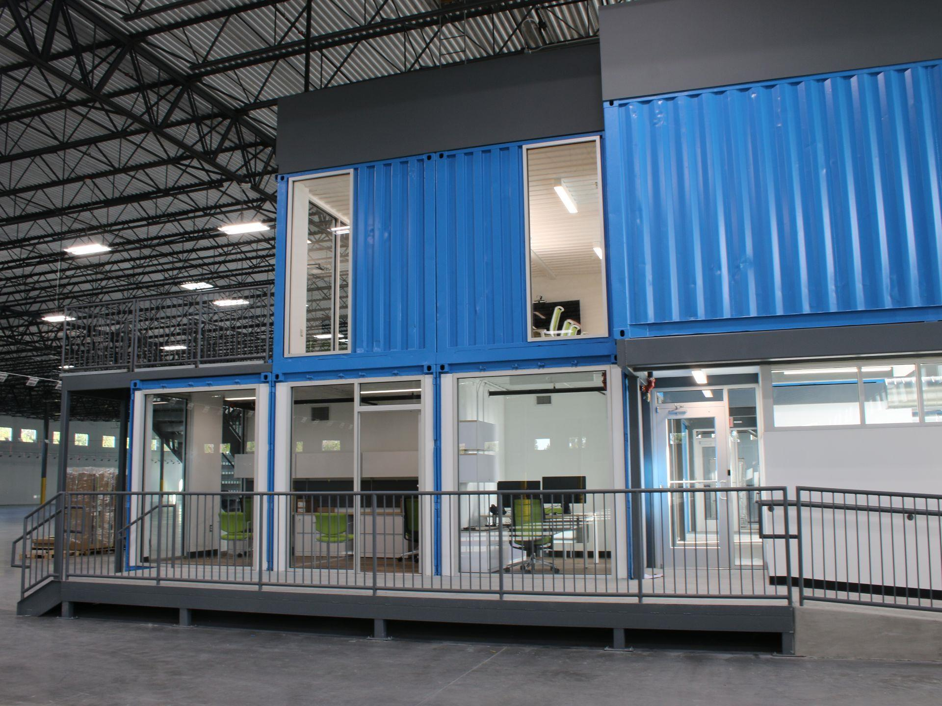 view instide building offices made from storage containers