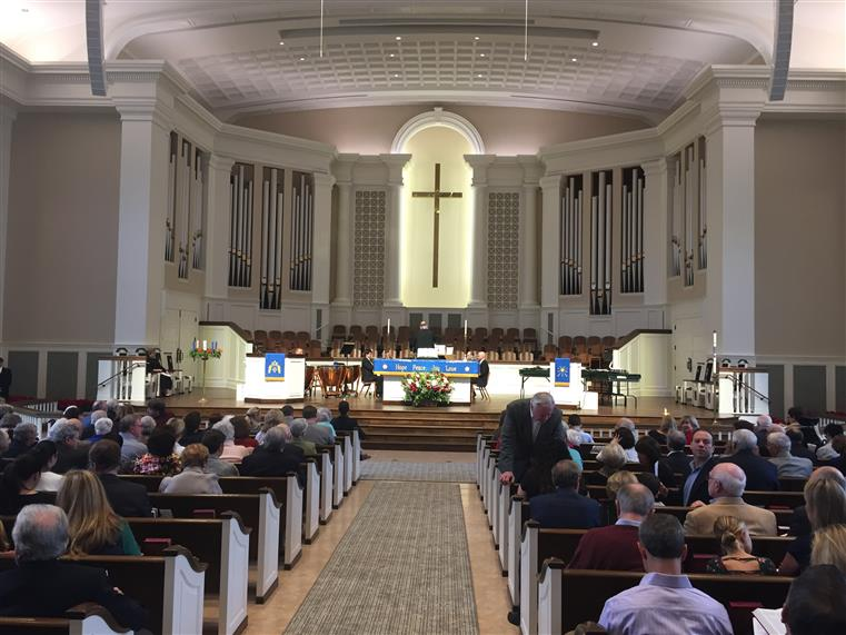 Interior of Dunwoody Methodist Church, View from back of Room.