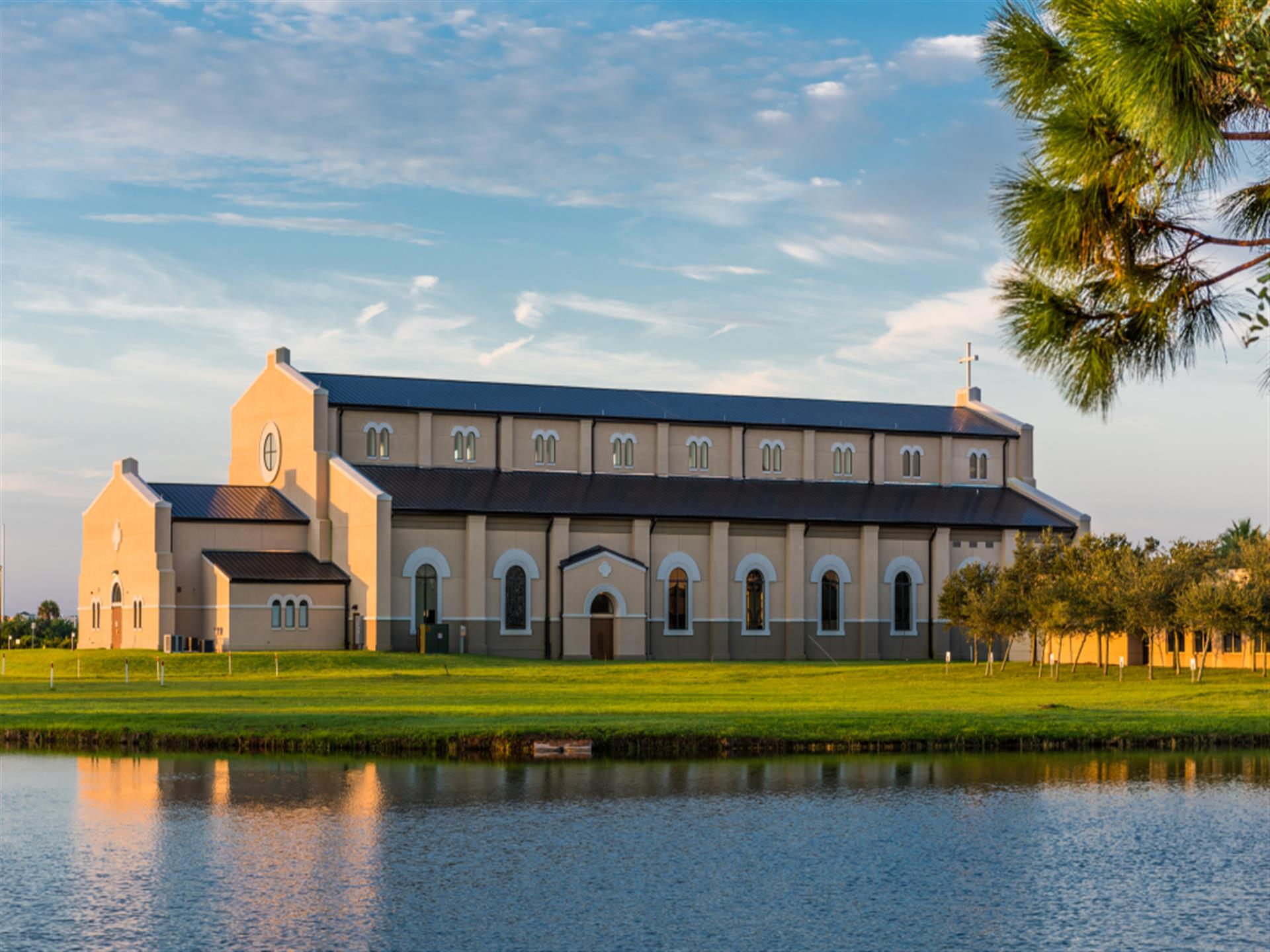 Exterior photo of church overlooking water