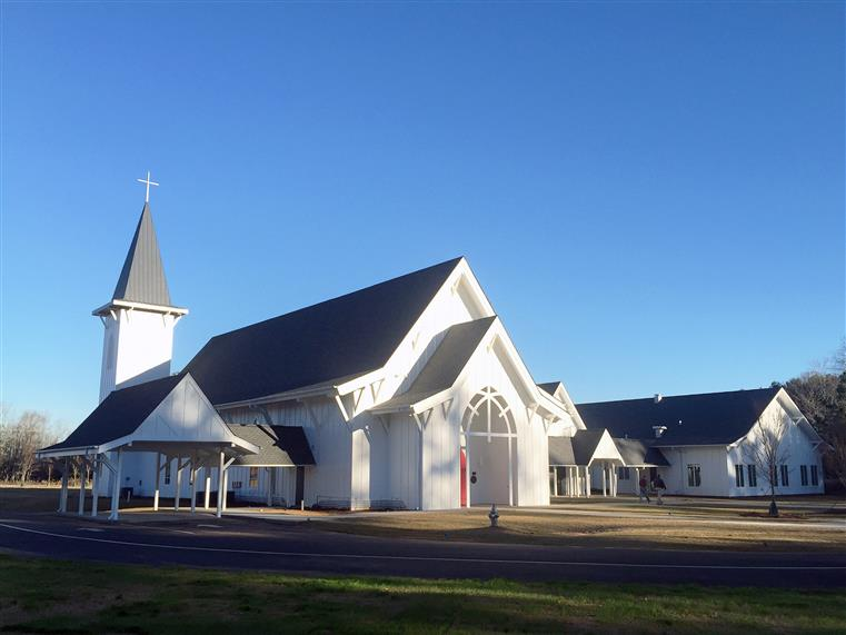 Traditional church - white wood on exterior